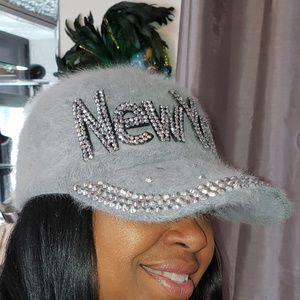 Gray Rhinestone and Angora New York Hats